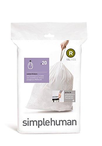 simplehuman CW0162, Sacchetti Adattabili per l'Immondizia, Code R - 10 L, 20 Sacchetti