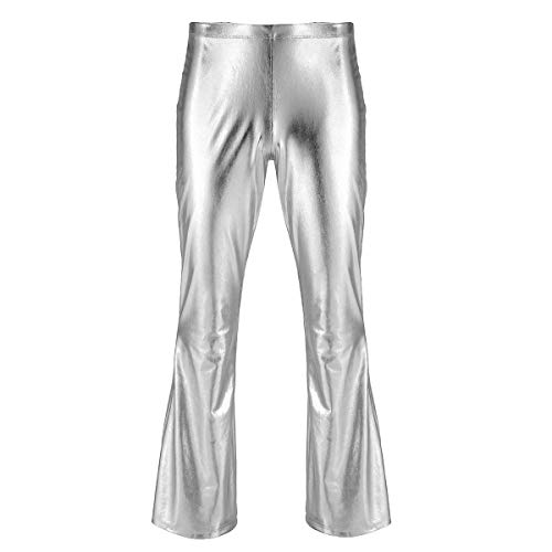 Hose Hippie Bell Kostüm Bottom - iEFiEL Herren Leder Hose Glänzende Schlaghose Hippie 70er Party Stretch Hose Retro Tanz Disco Latin Hose Wetlook Leggings Silber L