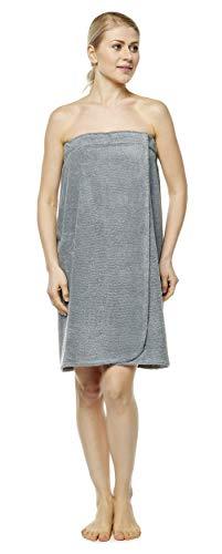 Arus Saunakilt für Damen 100% Bio-Baumwolle-Frottee mit Gummizug und Klettverschluss Größe: L/XL, Farbe: Grau
