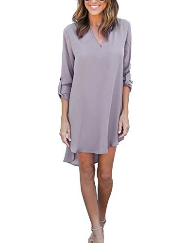 Yidarton Damen Tunika Chiffon Blusen Sommer Oberteile Kleider Casual V-Ausschnitt Dünne Langarm Loose Shirt Longshirt, Grau - L