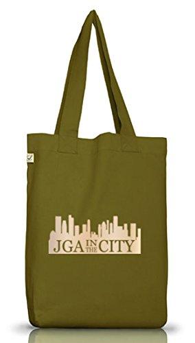 JGA 41 - JGA IN THE CITY, Junggesellenabschied Jutebeutel Stoff Tasche Leaf Green
