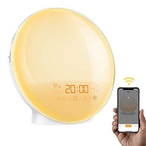【App Kontrolle】AMIR Smart Wake-Up Light, Lichtwecker mit 4 Alarm & Snooze Funktion, Radiowecker, Wake Up Licht mit Sonnenaufgang Simulation, 7 Farben, 8 Alarmtone, FM Radio, Handy USB Ladefunktion