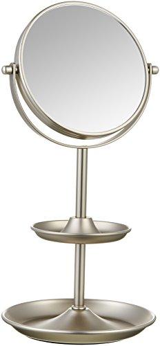AmazonBasics - Espejo de maquillaje, con estante, Níquel