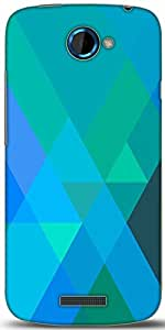 Snoogg Blue Rhombuses Designer Protective Back Case Cover For HTC One S