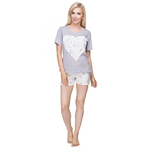 Alkato Damen Pyjama Shorty 2-tlg Kurzarm Shirt & Shorts Herz Schäfchen Grau/Dunkelgrau