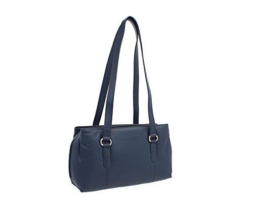 Mala en cuir LUCY Collection Triple Zip Sac bandoulière en cuir noir 734_30 Bleu marine