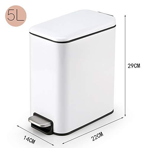 MOCHENG Narrow Rectangular Pedal -Typ Papierkorb In -Home Recycling Bins Badezimmer Müll Kann Fingerprint -Proof Edelstahl mit Deckelwaschbecken(White) White Pedal Bin