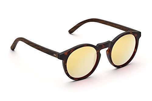 TAKE A SHOT - Schmale runde Holz-Sonnenbrille Damen, Holz-Bügel und Kunststoff-Rahmen, UV400 Schutz, rückentspiegelte Gläser - Lormoral