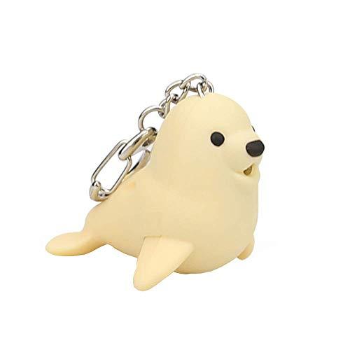 Vektenxi Premium-Qualität niedlichen Cartoon Seal Keychain mit LED-Licht und Sound Keyfob Kinder Spielzeug Geschenk Schlüsselanhänger Party Favors Spaß Spielzeug für Kinder Erwachsene Schlüsselbund (Licht Spaß Keychain)