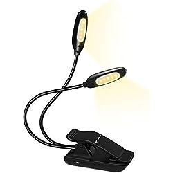 【10 LED Blanch Froid et Chaud】 TOPELEK Lampe de Lecture,2 Tête * 5 LED Liseuse Lampe Rechargeable USB avec Cou Flexible Température de Couleur Réglable, Lampe Clipsable pour Lecture, Etudes, Travail
