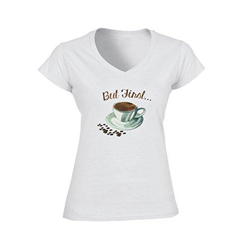 But First Coffee Art Black With Beans Damen V-Neck T-Shirt Weiß