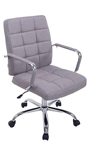 CLP Bürostuhl Deli PRO mit Stoffbezug I Schreibtischstuhl mit Metalldrehkreuz I Chefsessel mit Laufrollen I erhältlich Grau