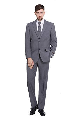 P&L Herren 2-teiliges Büro-Kleid mit 2 Knöpfen, Blazer und Plissee-Hose - Grau - 52 Lange -