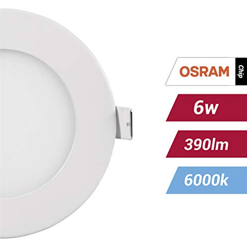 POPP(Pack x 2 )-downlight led Placa LED redondo 6W,Blanco frio chip OSRAM(6000K,...