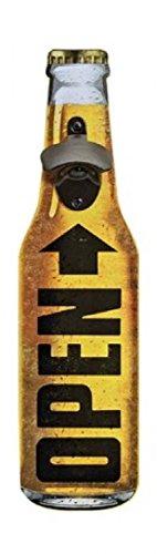 Unbekannt Robuster Wand Flaschenöffner Bier zur Wandmontage aus Holz mit Metall Kapselheber, Masse 40 x 10 cm, Designflasche 2