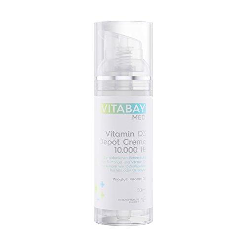 Vitamin D3 Depot Creme 10.000 IE/IU - Nur eine Anwendung alle 10 Tage liefert 1000 IE pro Tag - 50 ml - Zur äußeren Behandlung von Vitamin D-Mangel -