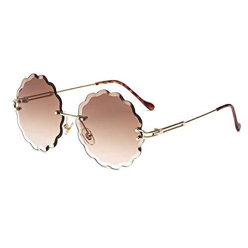 YOGER Sonnenbrillen Runde Randlose Sonnenbrille Stilvolle Designer Steigung Sonnenbrille Für Frauen Blume Geformt Retro Sunglass Klassische Brillen
