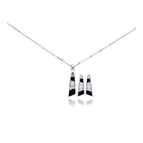 Perlmutt Schwarzer Onyx Klare Geometric Zirkonia Sterling Silber Rhodium beschichtet