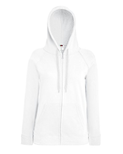 Fruit of the Loom Lady-Fit Lightweight Hooded Sweat Jacket 62-150-0 S,White