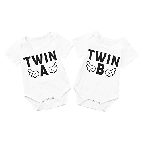 DEELIN Babybody Kurzarm mit tollen Motiven für Zwillinge - 2er Set -Wähle Motiv, Farbe & Größe - Twin A und Twin B- Weiß