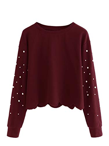 DIDK Damen Sweatshirt mit Perlen Langarm Pullover Oberteile Rot S