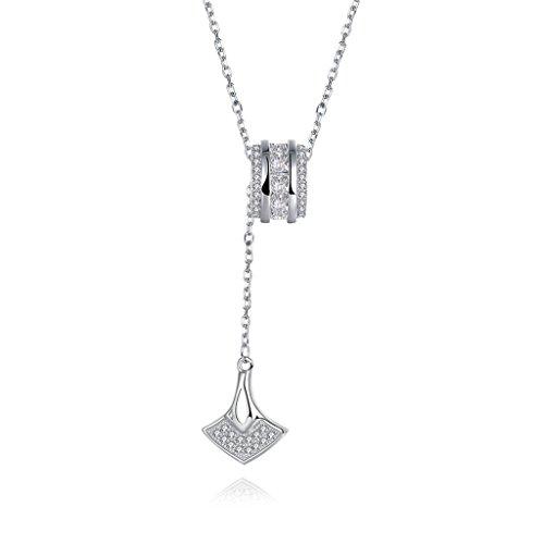 HMILYDYK mujeres collar colgante 925plata esterlina Cubic Zirconia Bead moda joyería regalo para ella