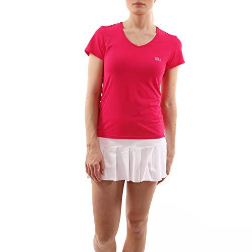 Sportkind Mädchen & Damen Tennis, Fitness, Sport T-Shirt V-Ausschnitt, pink, Gr. 134