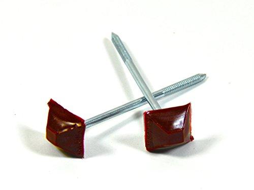 Dachnägel Nägel für Bitumenwellplatte Wellplatten Kunststoffkopf Kopf eckig rot, Stück:200