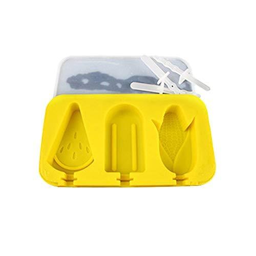 men Set Mit Deckel BPA FREI Silikon 3 Hohlräume Cartoon Kreative Nette Hausgemachte Sorbet Werkzeuge Für Kinder(watermelon corn square shape(yellow)) ()