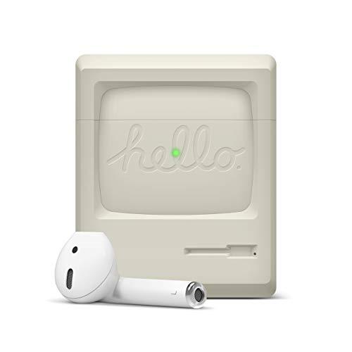 elago AW3 Custodia in Silicone Compatibile con Apple AirPods 1 e 2 (LED Frontale Visibile) - Design Retro Old School, Niente Càrdine, Supporto Ricarica Wireless, Extra Protezione