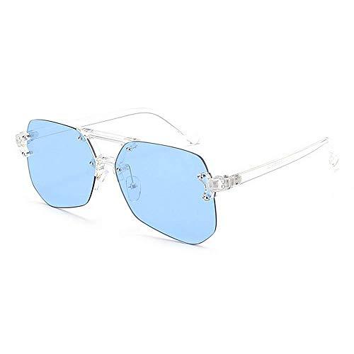 XHCP Frauen Polarisierte Klassische Aviator Sonnenbrille, Unregelmäßige Rahmenlose Stil Uv-Schutz Sonnenbrille Für Männer Frauen Farbige Linse Im Freien Fahren Reisen Sommer Strand (Farbe: Blau)