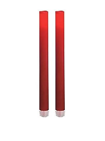 2x Candle Impressions Flammenlose LED Echtwachskerze Stabkerze / Spitzkerze / Tafelkerze Bordeaux Rot; Höhe 22.86cm; Durchmesser 2.2cm; Betriebszeit ca. 500 Stunden; inkl. integrierte Zeitschaltuhr (5 Stunden), Batteriebetriebene Kerze, Elektrische Kerze, Tischkerze, Leuchter, Kronleuchter, Tischleuchter