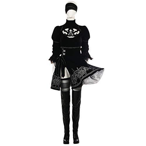 nihiug Spiel Neil Mechanical Era 2b gleichen Cosplay Peripherie Kostüm Bestickt Rock Kleidung Schuhe Frauen Cosplay,Black-S(158to162)