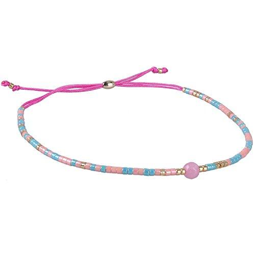 KELITCH Armband Grün Rocailles Perlen Rosa Zart Schnur Freundschaftsarmbänder mit Rosa Achat