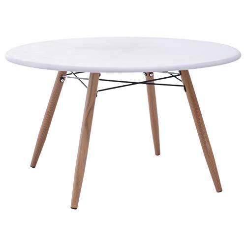 Homcom Table Basse Ronde Design scandinave Ø 80 x 45H cm métal Imitation Bois MDF Blanc