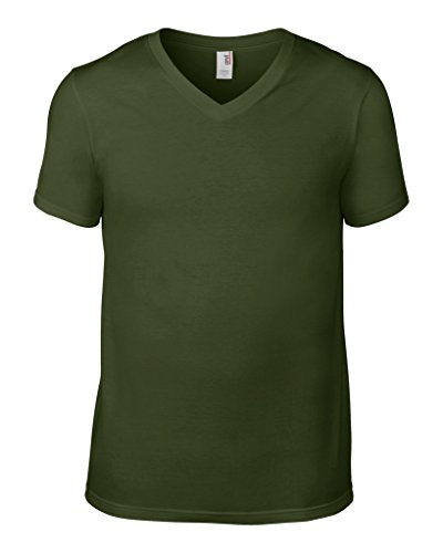 anvil Herren Fashion Basic V-Neck Tee / 982 Charcoal (Solid)