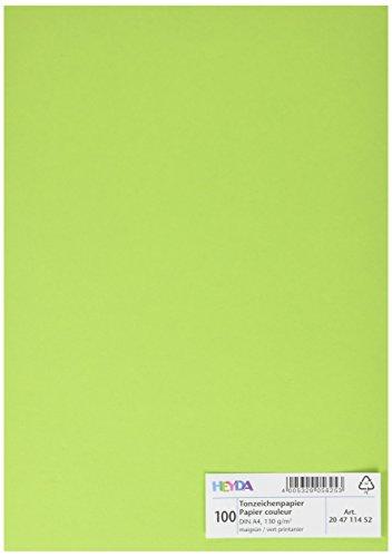 Preisvergleich Produktbild Heyda 204711452 Tonpapier DIN (A4, 130 g qm, 100 Blatt) maigrün