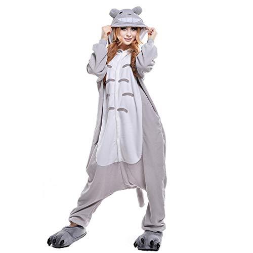 DUKUNKUN Erwachsene Pyjamas Katze/Totoro Pyjamas Kostüm Korallen Fleece Grau Cosplay Für Tier Nachtwäsche Cartoon Halloween Festival/Urlaub,L
