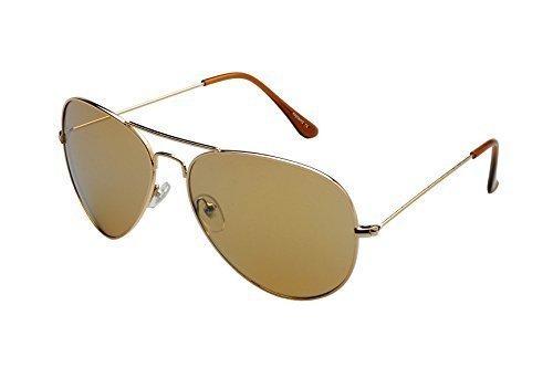 Alpland Pilotenbrille - Sonnenbrille - GOLD VERSPIEGELT inkl. SOFTBAG Große Gläser !