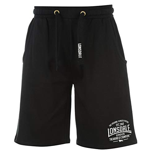 Lonsdale Mens Box Lightweight Shorts Pants Bottoms Boxing Sports Clothing Black Large