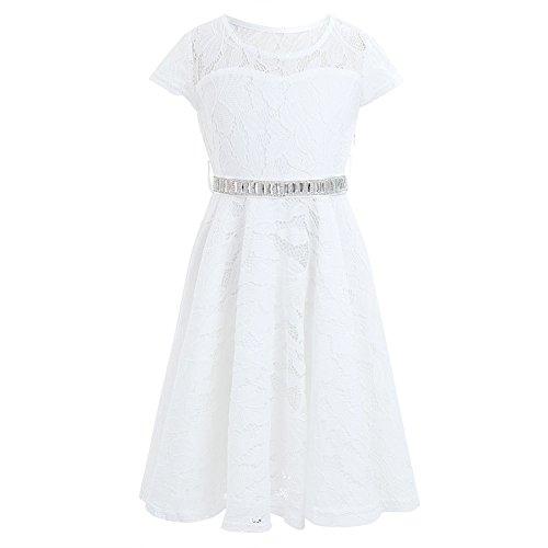 iEFiEL Mädchen Kleid Sommer Spitzen festliche Kleider Prinzessin Hochzeit Kinder Kleid für Mädchen 104 116 128 140 152 164 Ivory 128 (Kleider Mädchen Elfenbein)