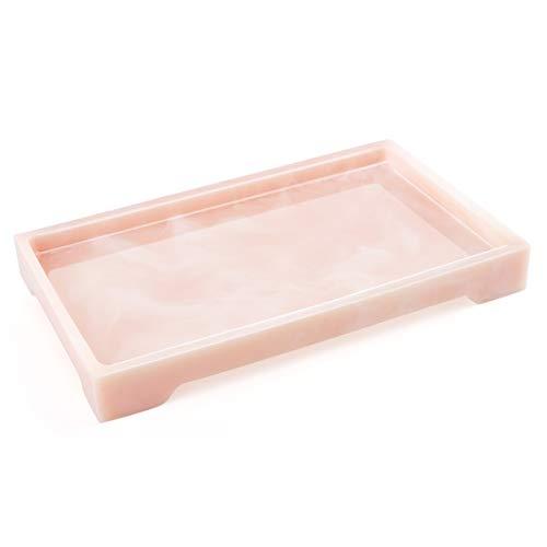 Luxspire Vassoio Retangolare Resina Vassoio per Bagno Organizzatore Portaoggetti per Tessuti Candele Sapone Shampoo Profumi Asciugamano Pianta ECC