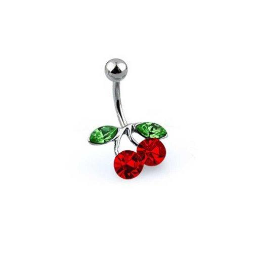 Bling Jewelry Rot Kristall Double Cherry Filiale Bar Nabel Bauchnabelpiercing Für Damen 316L Edelstahl Stärke 14