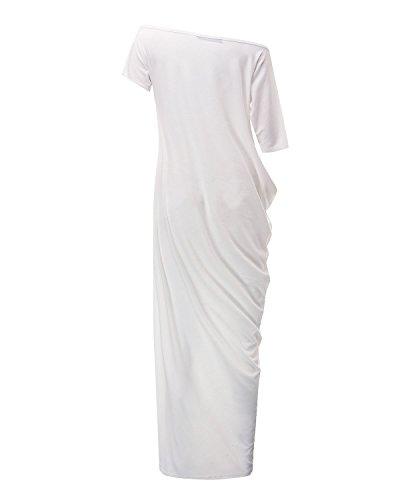 ZANZEA Vestito Maxi Sexy Casual Ufficio Elegante Cotone Girocollo Off Shoulder Manica Corta Donna Bianco