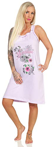 Damen Sleepshirt angesagtes hochwertiges Baumwoll-Nachthemd Gr. XL Flieder kurzes Nachthemd mit Blumen Motiv Spaghettiträger in modischen Sommerfarben (Baumwolle-xl Nachthemd Aus)