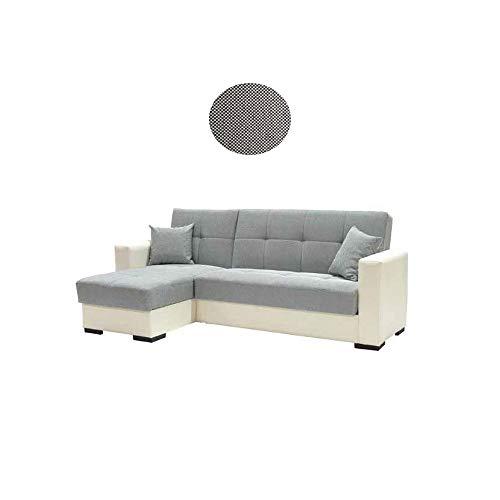 We point divano letto angolare ecopelle bianca e tessuto c/contenitore 241x147xh.85 cm