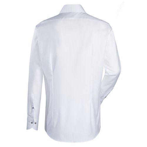 JACQUES BRITT Business Hemd Slim Fit 1/1-Arm Bügelleicht Uni / Uniähnlich City-Hemd Hai-Kragen Manschette weitenverstellbar weiss (0001)