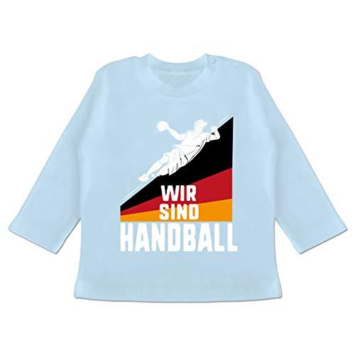 Handball WM 2019 Baby - Wir sind Handball! Deutschland - 12-18 Monate - Babyblau - BZ11 - Baby T-Shirt Langarm