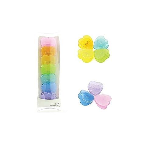 Candy Couleurs Zhi Jin transparente Cœur Plastique à anneaux Clips Feuilles de papier photo Clips signets Folder, Lot de 7
