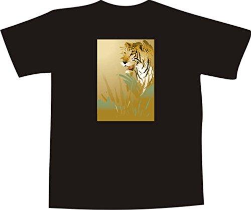 T-Shirt F1131 Schönes T-Shirt mit farbigem Brustaufdruck - Tiger Stalking Opfer Schwarz